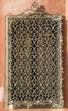 Wrought Iron window grill, Irish Iron Serving Sacramento CA Wrought Iron Decor, Wrought Iron Gates, Iron Windows, Iron Doors, Tuscan Design, Tuscan Style, Burglar Bars, Window Grill, Iron Art