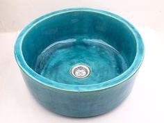 Turquoise sink handmade washbasin overtop washstand by Dekornia