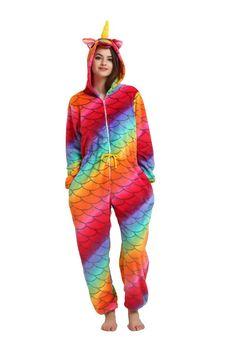 Adult Men Women Pajama Set Cartoon Pajamas Animal Halloween Hooded Coral  Fleece Sleepwear Unicorn  616b90f82