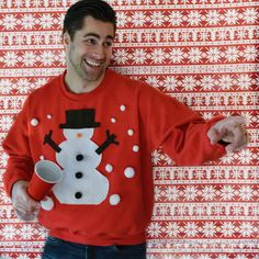 This easy DIY snowman sweater is perfect for your next Ugly Christmas Sweater party! Ugly Christmas Sweater Women, Tacky Christmas, Christmas Jumpers, Christmas Sweaters, Christmas Snowman, Ugly Sweater, Christmas Snowflakes, Christmas Ideas, Snowman Costume