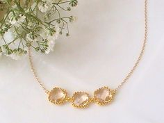 Gift Ideas for Women Blush Chanpagne Necklace One Year Anniversary Gifts for Wife Anniversary Engagement Gift Peach Wedding Idea Peach Necklace, Delicate Gold Necklace, Bridal Necklace, Bridesmaid Earrings, Bridesmaid Gifts, Bridesmaids, Unique Gifts For Her, Gifts For Women, 25 Year Anniversary Gift