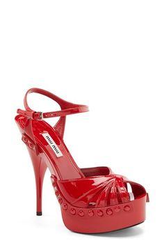 Miu Miu Ankle Strap Leather Sandal (Women) available at Gold Pumps, Pumps Heels, Sandal Heels, Stilettos, Women's Shoes Sandals, Leather Sandals, Patent Leather, Unique Heels, Walking In Heels
