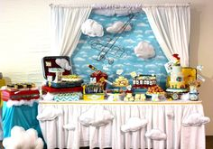 travel theme party decorations | How Extraordinary is this airplane party? I love all of the 3D clouds ...