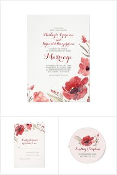 Bold Watercolor Flowers Wedding Invitation Set Collection #wedding