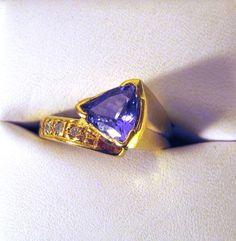 Purple Blue .85ct 7x7mm Tanzanite Trillion by GriffinsNestJewelry, $954.74