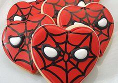 Heart-shaped Spiderman cookies
