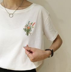 embroidery, fashion, flowers, style, white tshirt