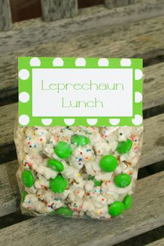 Leprechaun Lunch - white chocolate, pop corn, rainbow sprinkles, and M