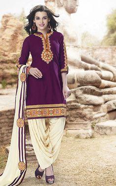 Purple #Cotton #Satin #Patiala #Salwar #Suit #nikvik #usa ...