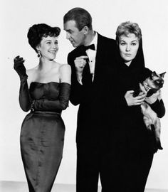 "Kim Novak, James Stewart, and Janice Rule in ""Bell, Book and Candle."""