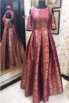 Brocade Dresses and Gowns Indian Gowns Dresses, Brocade Dresses, Pakistani Dresses, Indian Long Gowns, Eid Dresses, Indian Designer Outfits, Indian Outfits, Designer Dresses, Saree Gown