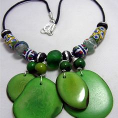 480 Green Tagua, African Sand Glass and Krobo, and Silver Inlay Ebony Beads Necklace