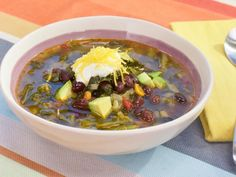 Get Black Bean and Kale Soup Recipe from Food Network. Make sure to use Bush's Fiesta Beans (not listed on ingredient list).