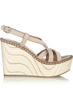 Miu Miu|Suede and wood wedge sandals