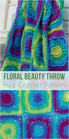 Crochet Floral Beauty Throw #crochetpattern #CrochetThrow #crochetafghans #crochetlove #floral #motif