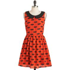 ModCloth Quirky Mid-length Sleeveless A-line First Kiss Dress ($35) ❤ liked on Polyvore featuring dresses, vestidos, modcloth, red, apparel, fashion dress, zip up dress, textured dress, red peter pan collar dress and red sleeveless dress