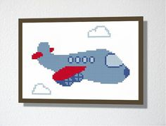 Counted Cross stitch Pattern PDF. Instant download. Cute Plane. Includes easy beginners instructions.