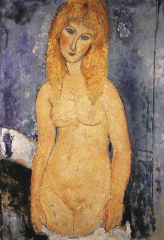 NU BLOND Ce tableau a été exposé chez Berthe Weill en décembre 1917 contribuant à l'énorme scandale causé par ces nus « impudiques » et à la fermeture de l'exposition dès le premier jour par un commissaire de police zélé. La blondeur du modèle illumine la toile dont la couleur vibre sous la touche tamponnée, presque pointilliste Fond inusité, coloré et tourmenté qui met en relief la fraîcheur et l'éclat laiteux de la jeune fille Modigliani