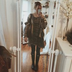 Ootd // Free People sweaterer dress, American Threads fringe cardigan, Hunter boots, layered necklaces…hope everyone has a good day today :')