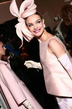 Simply fabulous. Blush pink bow side hat