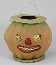 """LARGE ANTIQUE JACK-O-LANTERN W/EXTENDED BASE Germany, large pressed & formed paperboard Halloween Jack-O-Lantern w/happy face, extended accordion paper base for holding candle when hung, very unusual and complete paper insert face. 14"""" when hanging."""