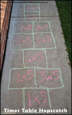 This will be a great idea for helping students to learn their time tables . In addition , especially since the times table hopscotch is outside it helps their mind  and body to be rejuvenated for learning.