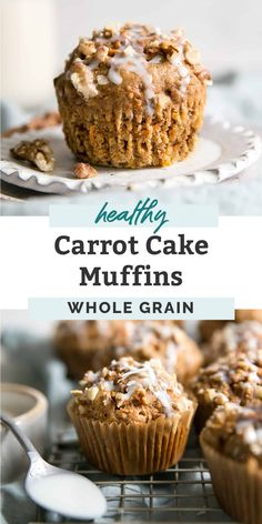 Healthy easy carrot muffins that are moist, soft, spiced and loaded with grated carrots. The best clean eating muffin recipe, perfect for carrot cake lovers. Sweetened with maple syrup, dairy free and made with whole wheat flour –great for kids and toddlers! These carrot muffins can also be made vegan using flaxseed. Definitely a winner! Healthy Carrot Muffins, Healthy Muffin Recipes, Healthy Cake, Healthy Baking, Moist Muffins Recipe, Vegan Baking Recipes, Healthy Cupcakes, Healthy Deserts, Diabetic Snacks
