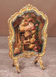 Gold gilt Louis XV fire screen with floral