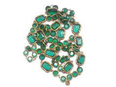 Vintage Chanel Rare Chiklet green Emerald Crystals necklace Sautoir 1981. $1,799.00, via Etsy.