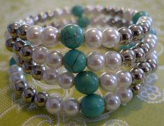 Pearl and turquoise memory wire bracelet by MyBigBrightBaubles, $15.00