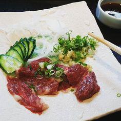 Horse tataki mmmmmmmm tasted near Kobe #tataki #raw #rawfood #japan #japanese #kobe #cuisine #agoodlife #livingthelife #foodorgasm #foodporn #instafood by stanshalomchin