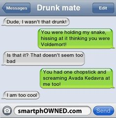 Drunk mate | Dude, I wasn't that drunk! | You were holding my snake, hissing at it thinking you were Voldemort! | Is that it? That doesn't seem too bad | You had one chopstick and screaming Avada Kedavra at me too! | I am too cool |