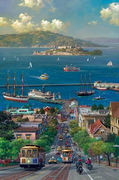Hyde Street View by Alexander Chen Baie De San Francisco, San Francisco City, San Francisco Travel, San Francisco California, California Travel, San Francisco Alcatraz, San Francisco Skyline, Places To Travel, Places To See