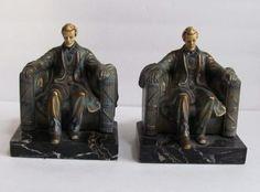 Abraham Lincoln Bronzed Metal & Marble Vintage Book Ends