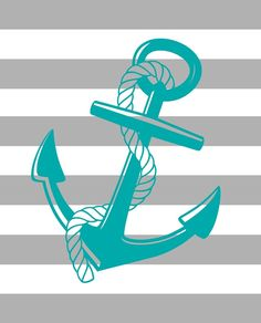 Free blue and gray anchor printable.  Perfect for summer or for a nautical look all year round.