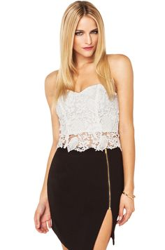 Floral Strapless Crop Top in Ivory