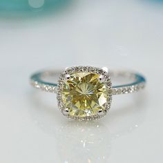 Charles & Colvard Limited Edition Rare 7.5mm Canary Yellow Cushion Moissanite and Diamond Halo and Shoulders 14k White Gold Ring 1.75 CTTW