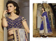 Royal Blue Georgette Online Sarees In Zari Work