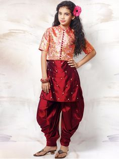Maroon Silk Wedding Wear Punjabi Suit  Product Code: G3-GSS0387 Fabric: Brocade, Silk Color: Maroon