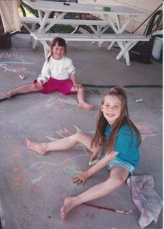 Tami and Tirina playing on Grandpa Eddie's Back porch