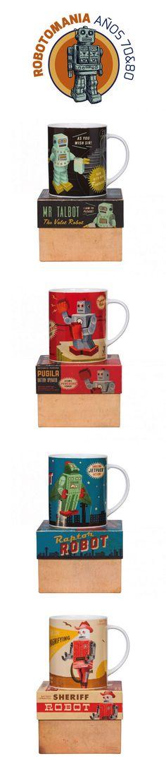 Tazas robot retro. Ilustraciones de robots inspiradas en los años 70 y 80, diseño de unos personajes de ficción que toman vida propia, cada uno con unos poderes únicos. Colorido y brillante, incluso el embalaje consigue un diseño retro con las esquinas gastadas, por lo que cada pieza parece que viene directa de una tienda vintage. #robot, #años80, #vintage, #taza, #decoracionretro, #regaloshombres