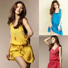 Women's Girl Korean Sleeveless Double pocket casual Tank Dress 3 Colors