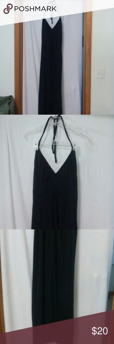 "Mossimo Supply Women's Size Large Sundress Barely worn, black, v neck, braided halter style, maxi, polyester, rayon and spandex, chest 38"", length from mid straps 62"" Mossimo Supply Co. Dresses Maxi"