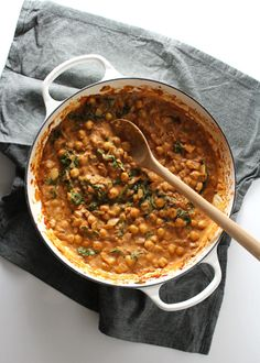 This quick dish for Chickpea Curry Over Cauliflower Rice can be made in under 20 minutes and is the perfect lunch or easy weeknight dinner.