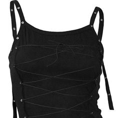Long lace-up cami, gothic fantasy metal top zwart