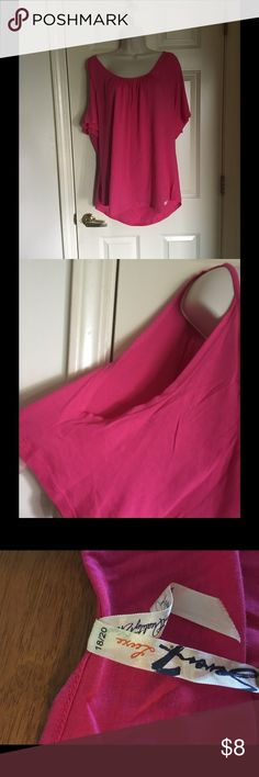 Seven7 Pink Cold Shoulder Top 18/20 Pink cold shoulder top.  Short sleeve.  Size 18/20.  From Seven7.  Great condition.  Important:   All items are freshly laundered as applicable prior to shipping (new items and shoes excluded).  Not all my items are from pet/smoke free homes.  Price is reduced to reflect this!   Thank you for looking! Seven7 Tops Tees - Short Sleeve
