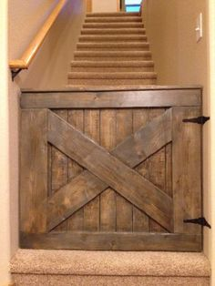 Custom Barn Door Baby/Dog Gate from Pink Moose -- I love this handmade wooden baby gate! way cuter than regular baby gates Pallet Furniture, Furniture Projects, Home Projects, Pallet Projects, Dog Furniture, Recycled Furniture, Furniture Stores, Woodworking Projects, Into The Woods