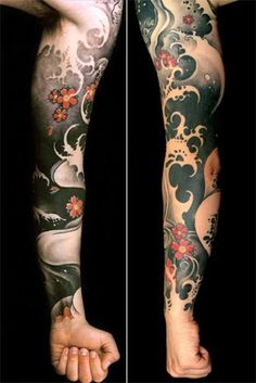 I really like this Japanese tattoo. Love the waves and flowers and the color choices. Overall a really great tattoo. – … I really like this Japanese tattoo. Love the waves and flowers and the color choices. Overall a really great tattoo. Japanese Wave Tattoos, Japanese Tattoo Designs, Japanese Sleeve Tattoos, Full Sleeve Tattoos, Japanese Forearm Tattoo, Japanese Flower Tattoo, Chinese Tattoos, Great Tattoos, Body Art Tattoos