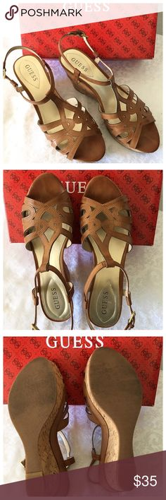 """Guess Light Brown Sandals In excellent condition. Worn few times. Size 10M. Heel almost 4"""" high see photos. Please ask questions if you are not sure. Guess Shoes Sandals"""