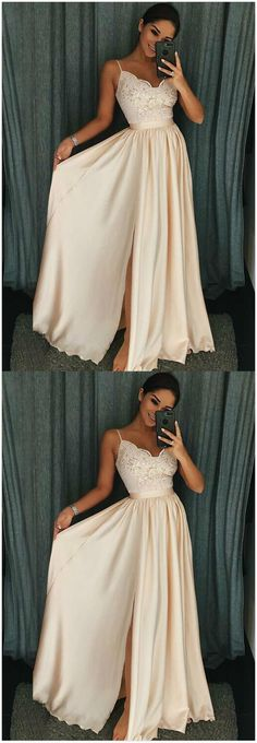 Spaghetti Straps Pearl Pink Prom Dress,A-Line Prom Dress,Cheap